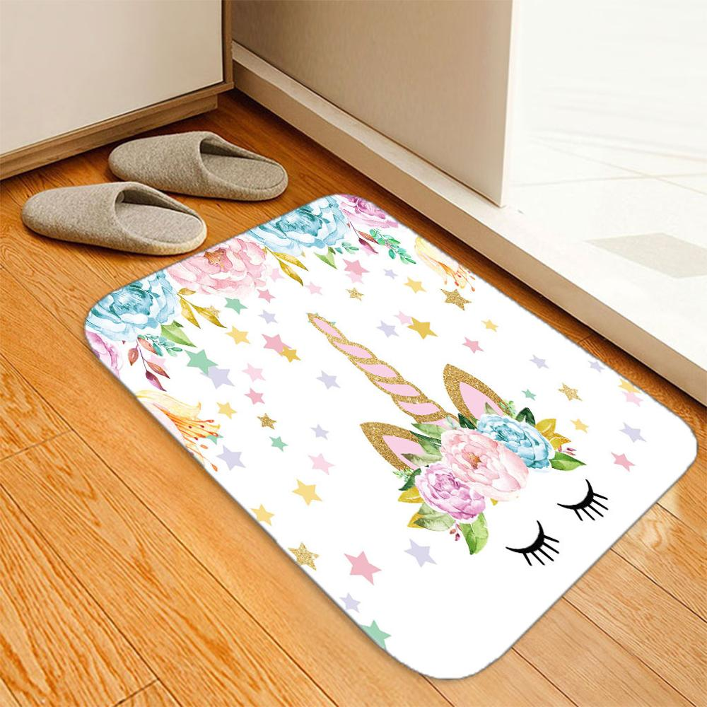 <font><b>3D</b></font> Unicorn Flowers Mat Hallway Welcome Floor Mats Print Bathroom Kitchen Carpet House Doormats Living Room <font><b>Tapete</b></font> Rug Custom image