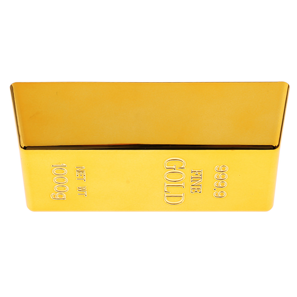 2 Pieces/Set Fake Gold Bar Plastic Golden Paperweight Home Decor Bullion Bar Simulation Decoration Crafts Personality Gold Brick