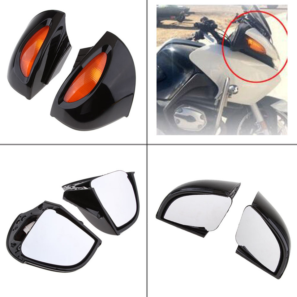 Side Turn Signal Rearview Mirrors For BMW R1100RT R1150RT 1995-2006 Silver