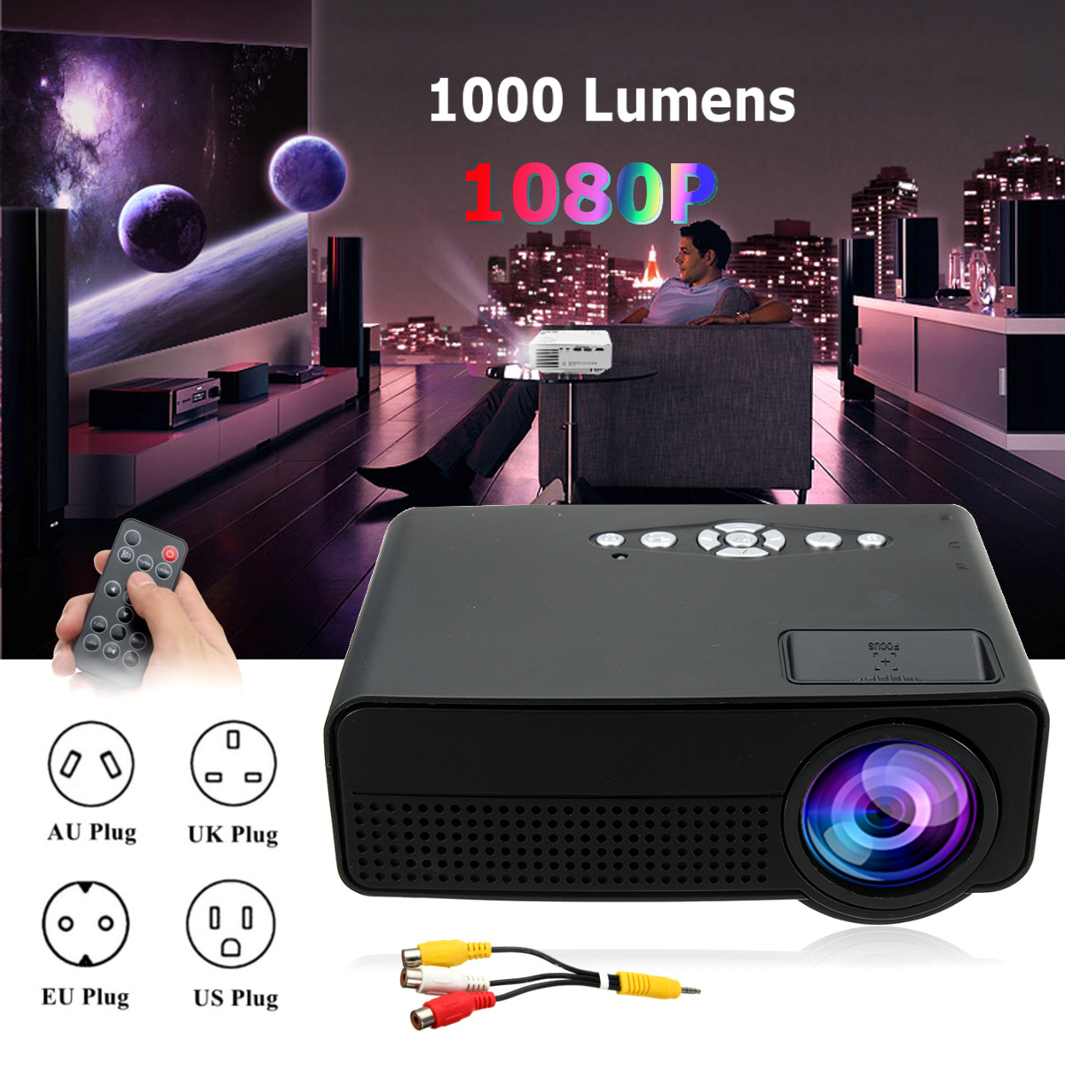 Portable 7000 Lumens HD 1080P 3D Multimedia Projector LED Home Theater HDMI USB Home Theatre System