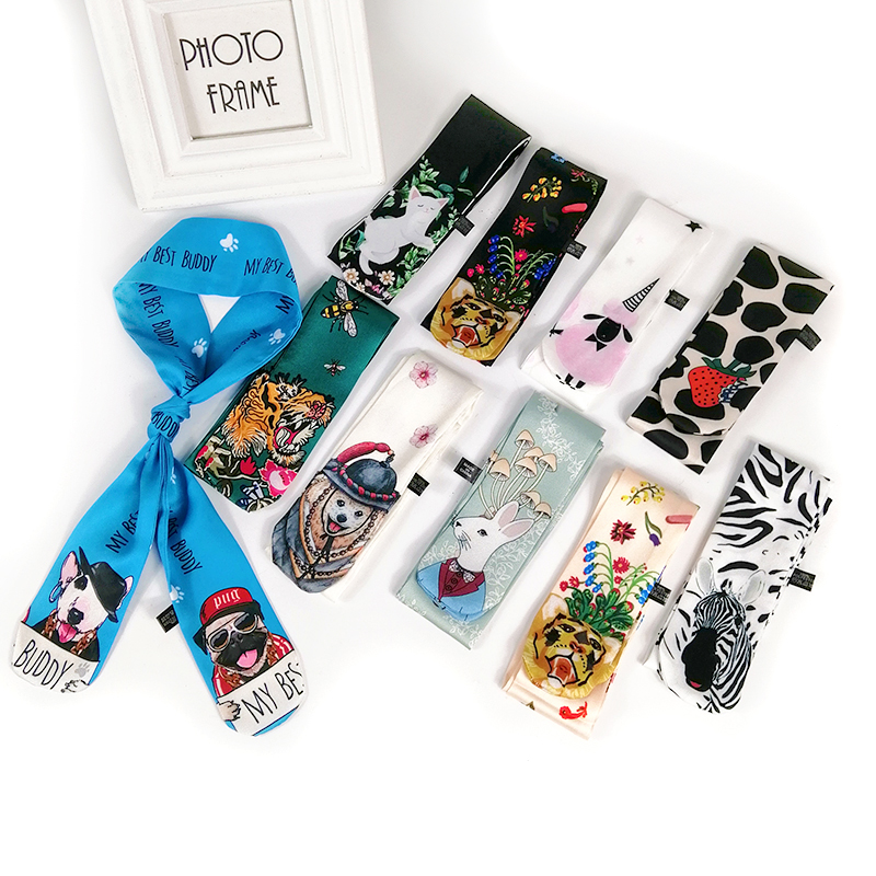 11 Colors Animal Print 2019 New Bag Skinny Silk Scarf For Women Luxury Brand Foulard Women Tie Fashion Head Scarves For Ladies