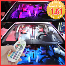 T10 RGB 5050 12SMD Auto Led Fernbedienung Atmosphäre Lampe Blinker Rgb Auto Auto Innen Led Dach Lesen Dome girlande Licht(China)