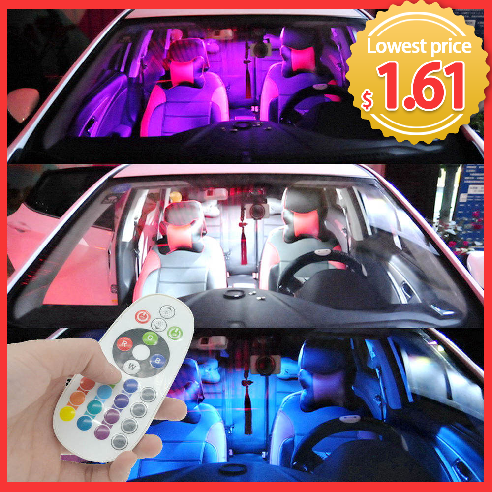 T10 RGB 5050 12SMD Автомобильный светодиодный пульт дистанционного управления Rgb Светодиодная панель для автомобиля интерьер Авто светильник s купольный светильник Festoon BA9S адаптер DC 12v светильник