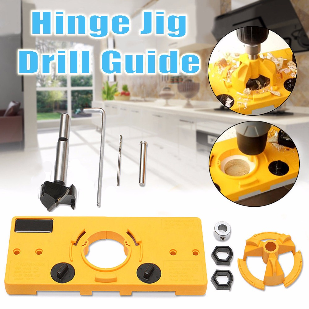 35mm Forstner Bit Guide Hole Puncher Hole Locator Cup Style Concealed Hinge Jig DIY Tool for Cabinet Door Installation Hinges Yellow 35mm Hinge Drilling Jig