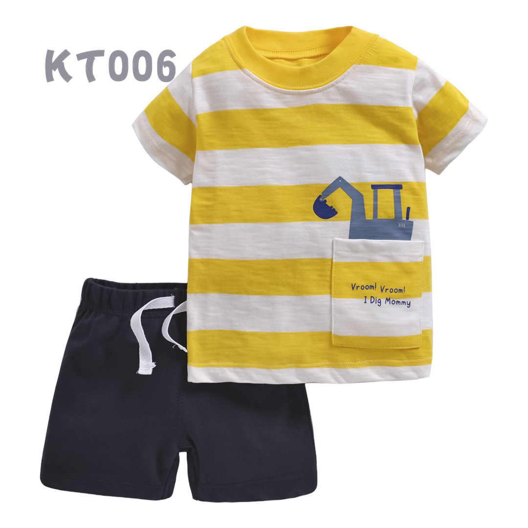 Zomer Baby Kleding Set T-shirt 2 Stuks Set Jongens Kleding Peuter Meisjes Kleding Zomer Kleding Kinderkleding Cartoon Dinosaurus print