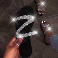 Dropshipping Sandals Slippers Women Bright Diamond Casual Outdoor Travel Flip Flop Beach Shoes Women Non-slip Slides