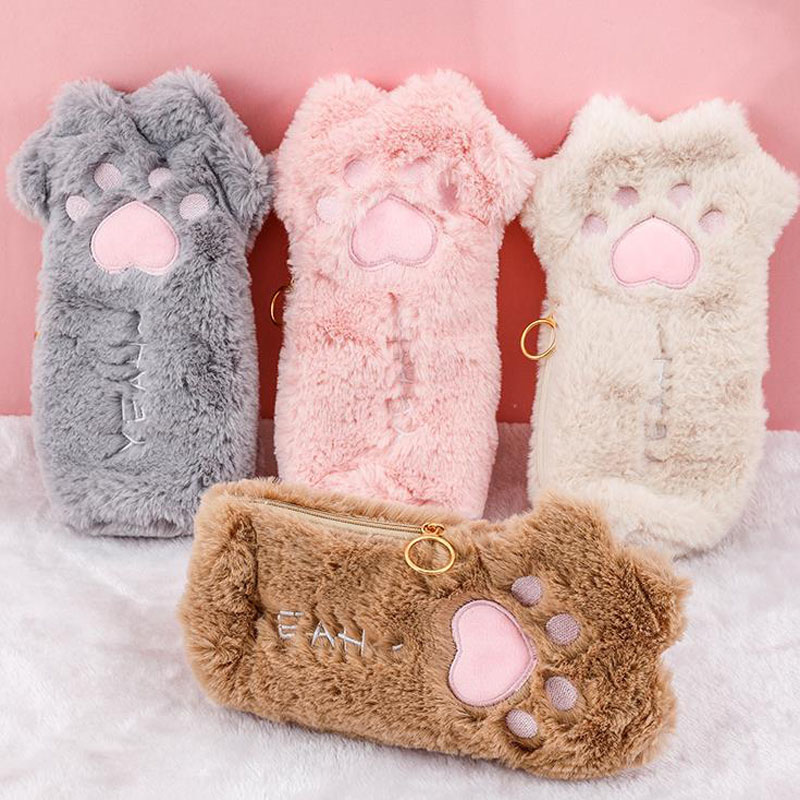 1 Pcs Kawaii Plush Cat Claw Paw Pencil Case Large Capacity Pencil Bags Pen Box Stationery Pouch Boy Girl Gift School Supplies