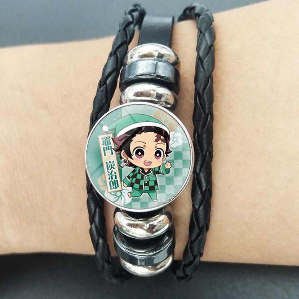 אנימה צמידי קוטלת שד צמיד, יפני אנימה זכוכית צמת צמיד עבור אנימה-אוהדים