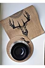 Siyah GeBlack geyik desenli jüt Runner Siyah jüt koşucu yüksek kaliteli çay masası paspaslar masa örtüsü ev dekor