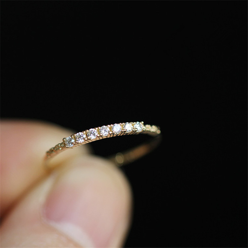925 Sterling Silver Japanese Simple Pavé Crystal Ring Women Light Luxury Vintage Wedding Party 14k Gold Plating Jewelry Gift