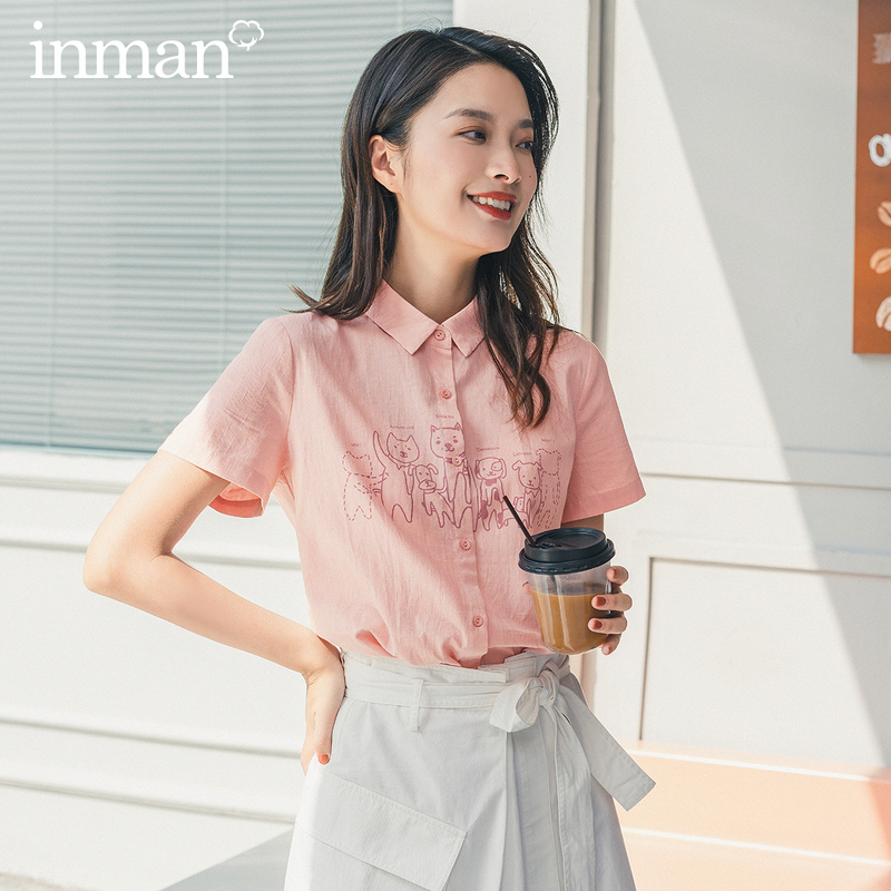 INMAN 2020 Summer New Arrival Short Sleeve Pure Cotton Sweet Printed Cute Cat And Dog Pattern Blouse