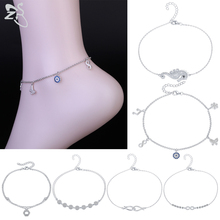 925-Silver Anklet Foot-Jewelry Women Real ZS for Girls CZ Crystal Sea-Horse Butterfly