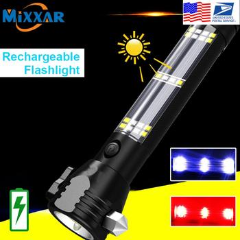 EZK20 Dropshipping LED Flashlight Solar USB Rechargeable Tactical Multi-function Torch Car Emergency Tool Compass
