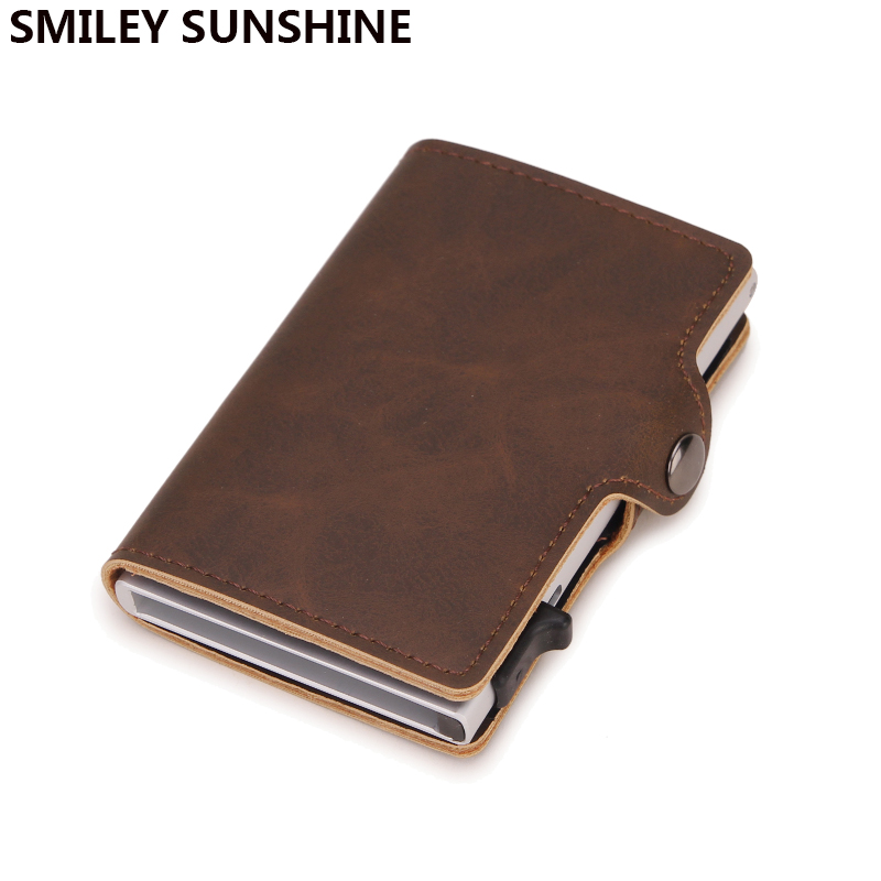 Top Quality Rfid Wallet Men Money Bag Mini Purse Male Aluminium Card Small Trifold Leather Wallet Slim Thin Brown Walet Carteras