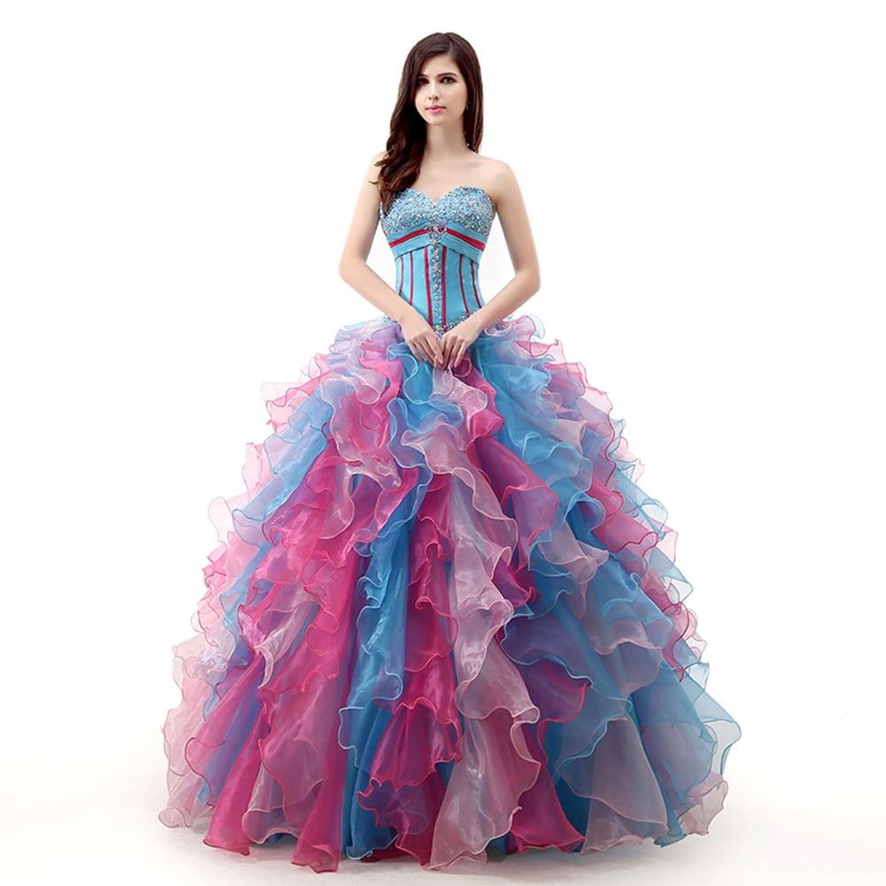 robe de bal Colorful Quinceanera Dresses Lace up Back Ruffled Ball Gown Beaded vestido 15 anos  sweet vestidos de quinceaneras