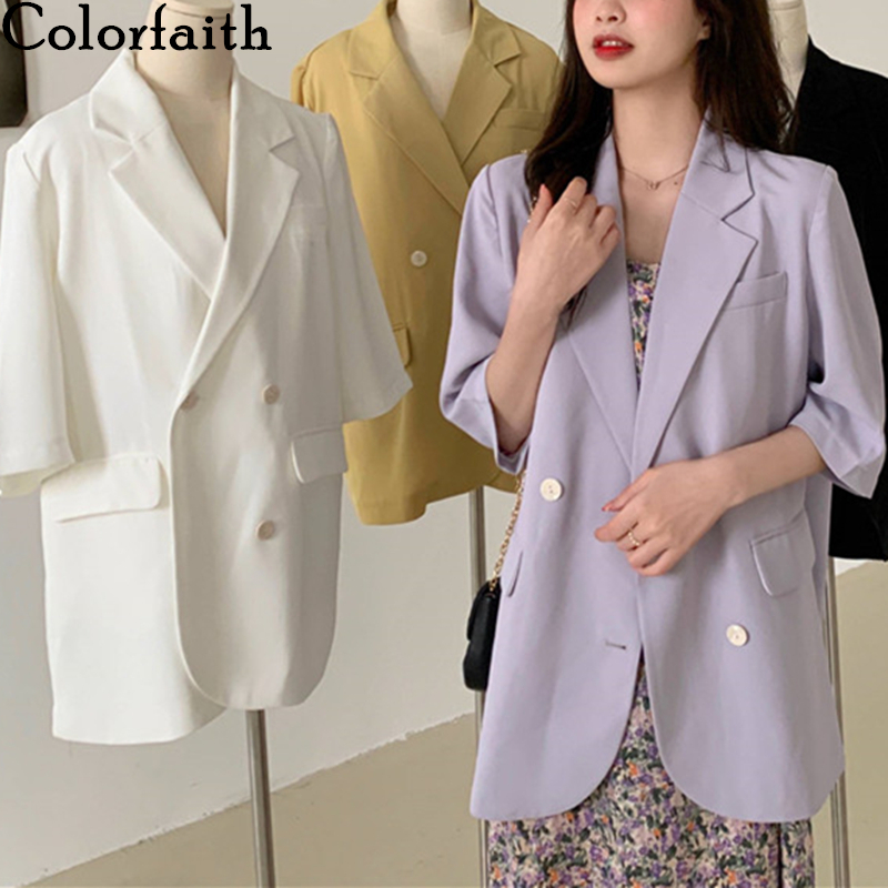 Colorfaith New 2020 Summer Women's Blazers Solid Multi 4 Colors Casual Three Quarter Loose Jacket Notched Lady Wild Tops BA7310