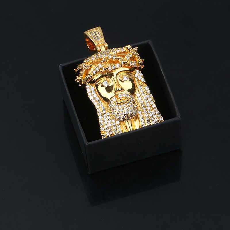 Nowy złoty srebrny stałe jezus kawałek wisiorek naszyjnik z tenis łańcuch Iced Out Cubic cyrkon dla kobiet mężczyzn Hip hop biżuteria