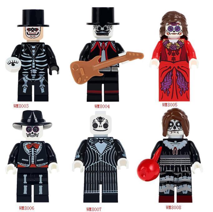 6Pcs/set Wm8008 Halloween Series Horror Dolls Assembled Inserting Building Block Toys Diy Funny Toys To Celebrate Halloween