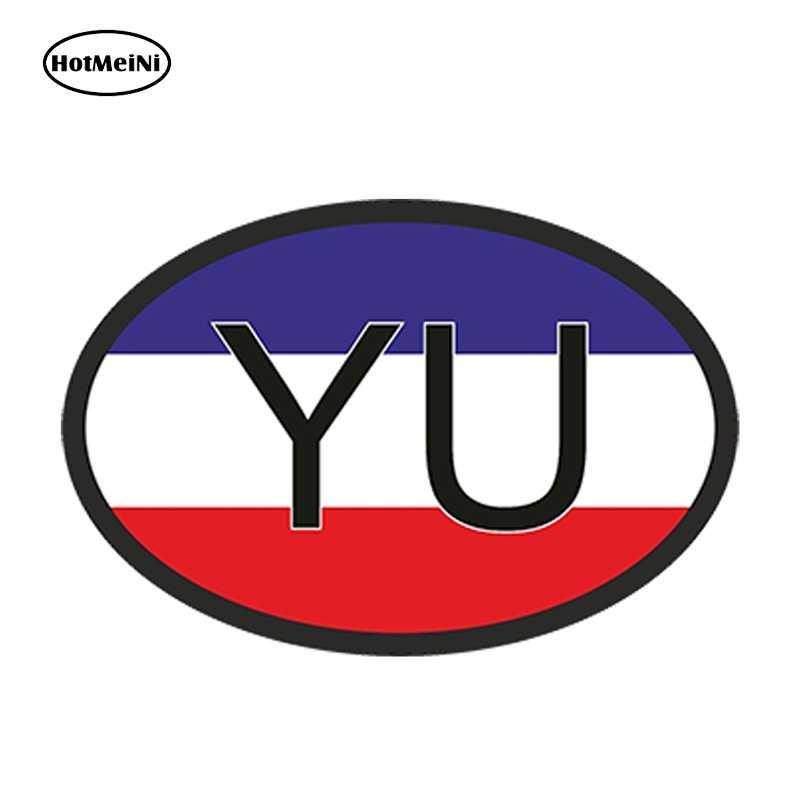 HotMeiNi 13cm X 8,8 cm Auto Styling YU JUGOSLAWIEN LAND CODE OVAL MIT YUGOSLAVIAN FLAGGE AUTO AUFKLEBER Helm Wasserdicht aufkleber