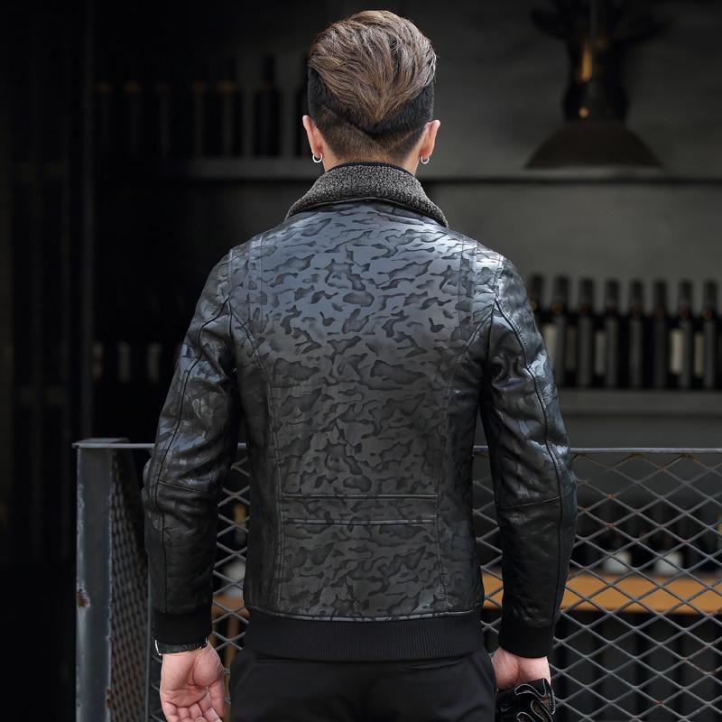 Geniune Leather Bomber Jacket Men Sheepskin Leather Black Camouflage Down Cotton Winter Warm Thick Coat CG16J036MF409