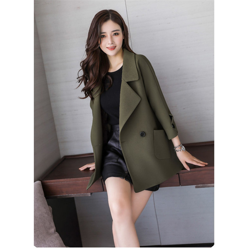 Autumn jacket women M-2XL plus size pink green beige coat 19 new long sleeve lapel fashion short paragraph jacket feminina LR484 28