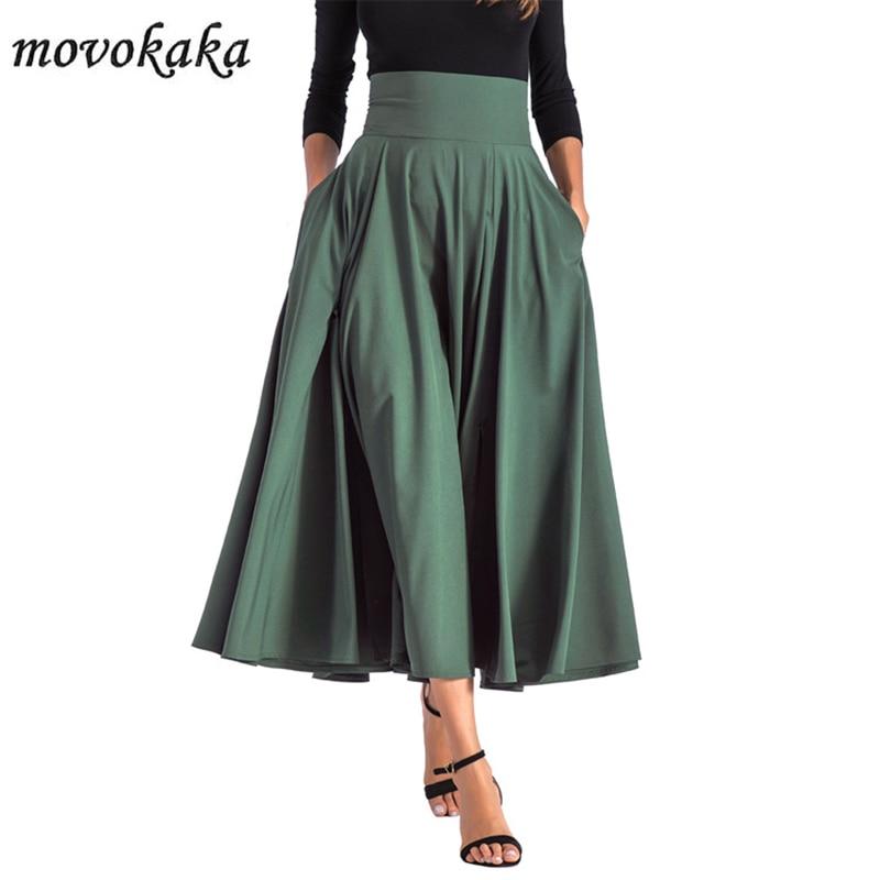 MOVOKAKA Long Skirt Women Elegant High Waist Pockets Vintage Women's Skirt Spring Summer 2020 Bow Pleated Skirts Women Plus Size