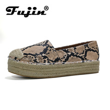 Fujin Women Flats Causal Shoes Fall Winter New Hemp Rope Leopard Big Size 35-43 Flat Platform Loafers Chaussures Femme