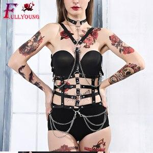 Image 2 - Fullyoung Taille Pu Leder Harness Bondage Gürtel Punk Brust Körper Hosenträger Riemen Frauen Sexy Körper Käfig Gürtel Dessous Harajuku