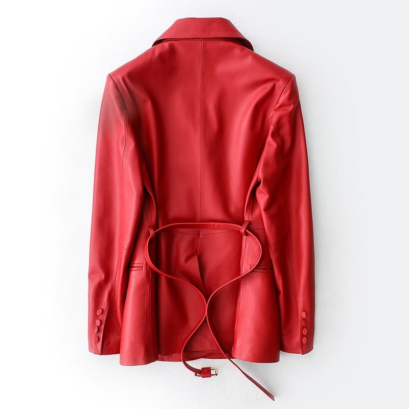 100% Genuine Leather Jacket Women Winter Coat Female Korean Ladies Real Sheepskin Jacket Belt Leather Jacket Hiver 1196