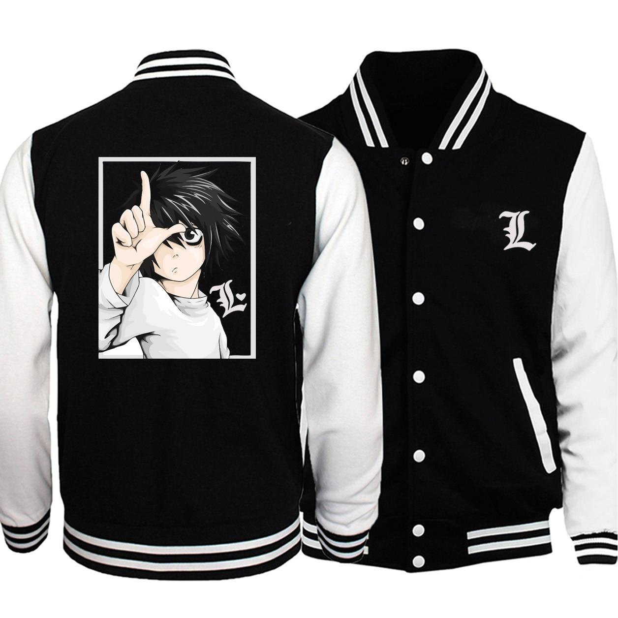2020 Men New Japanese Anime Death Note Trend Baseball Jackets Big Size Sweatshirt Autumn Winter Streetwear White Coats Jacket