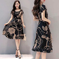 LINLING 2021 Summer New Women's European and American Slim Printed Dress Fashion New A-line Mid-length Skirt
