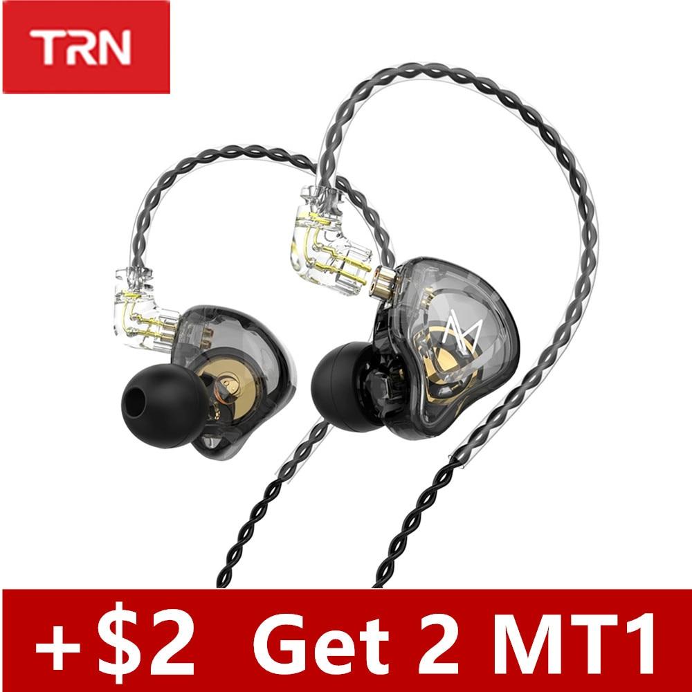 Новинка, Внутриканальные наушники TRN MT1, динамический DJ монитор, IEM наушники, HIFI спортивные шумоподавляющие гарнитуры TRN M10 TA1 ST1 V90s T300