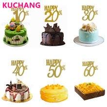 Bandeira de bolo do cupcake 1 peça, feliz 10th 20th 30th 40th 50th 60th, bandeira do bolo, de aniversário, diy materiais de adereço de decoração