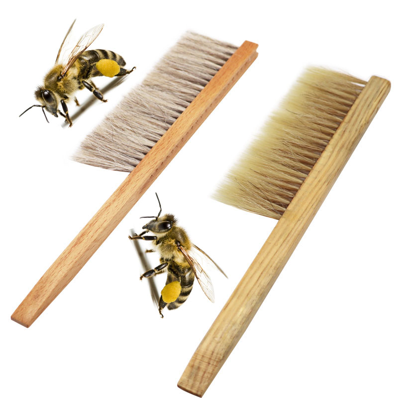 Beekeeping Tools Wood Honey Brush  Wasp Bee Sweep Two Rows Of Horse Tail Hair New Bee Brush Beekeeping Equipment