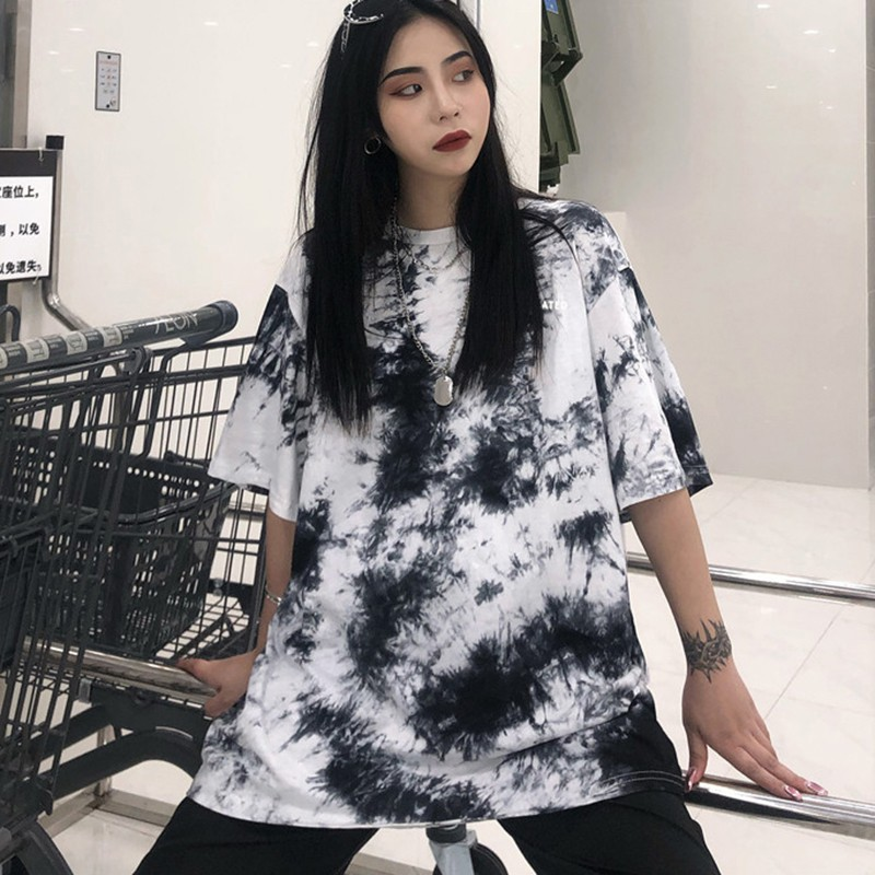 Hip Hop Style Tee Tie-Dye Print Women's T Shirt Casual Round Neck Short Sleeve Top Loose T-Shirt