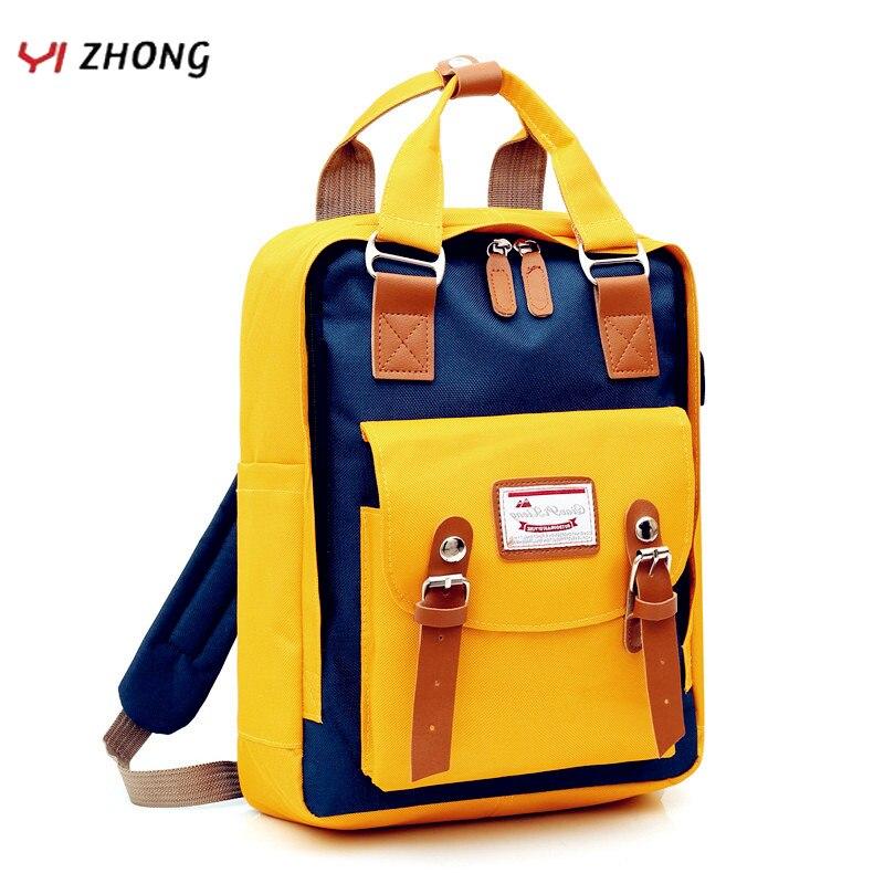 YIZHONG Canvas Usb Charging Laptop Women Backpack Waterproof Oxford Travel Backpack Purse Large Capacity Unisex Bookbag Mochila