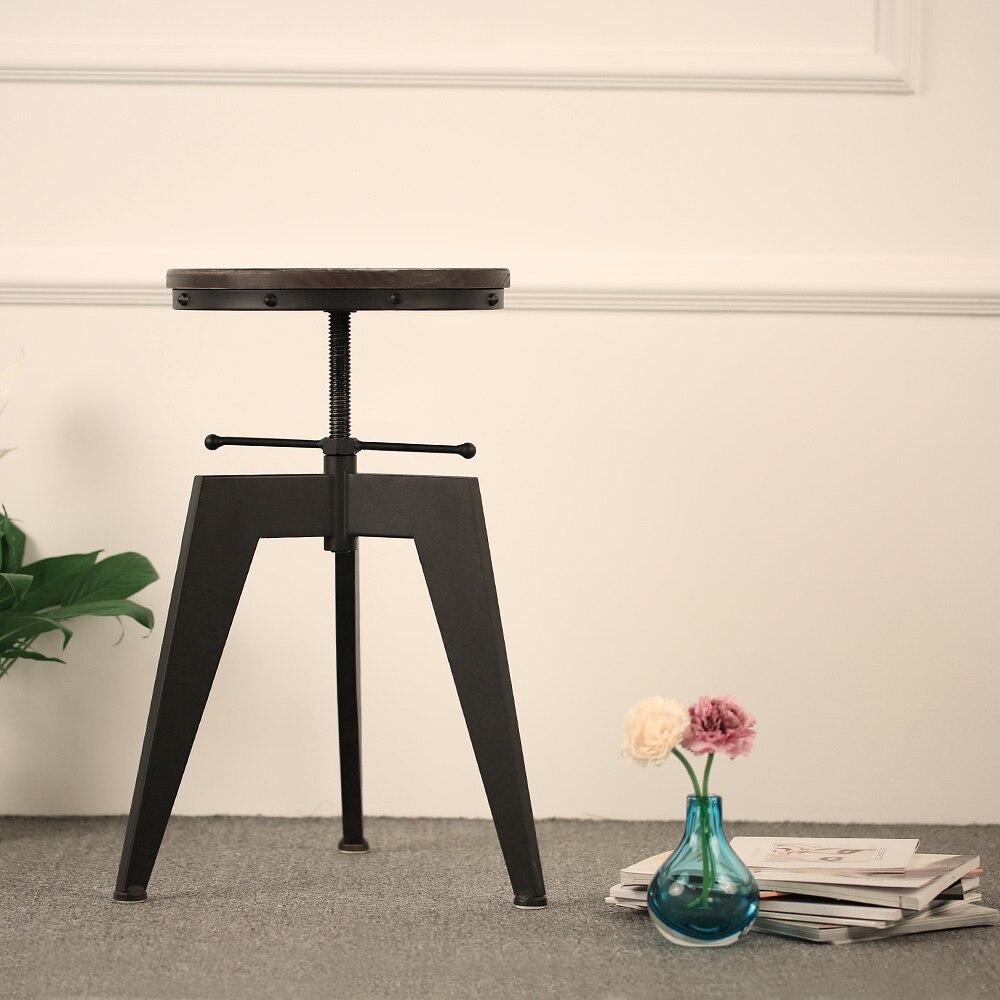 IKayaa Bar Stools Modern Natural Pine Wood Top Swivel Kitchen Dining Seat  Bar Stool Chair Height Adjustable Industrial Style