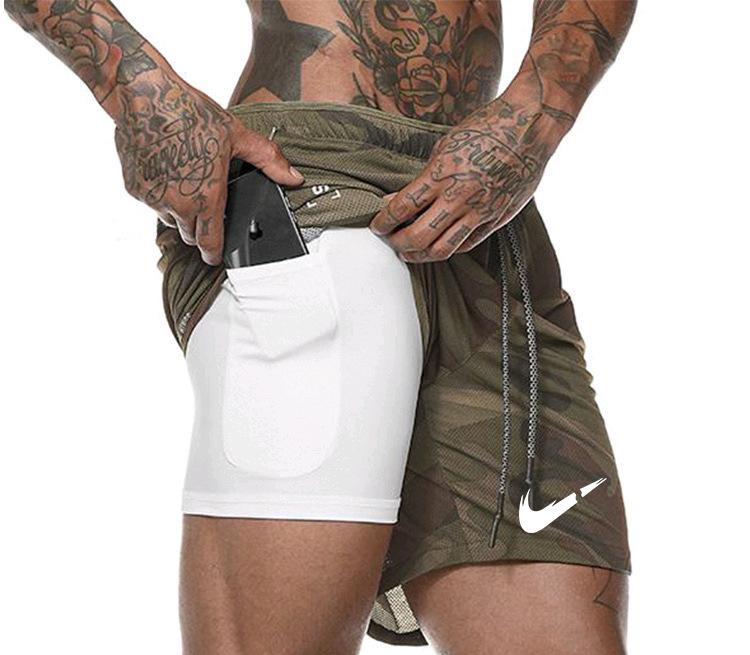 New Summer Men Double Layer Shorts Fast Dry Running Training Fitness Sportswear Sweat Single Camouflage Workout Shorts