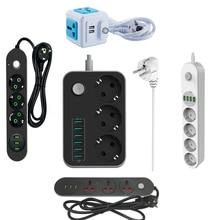 Ue plug usb tomada de extensão multi tira energia eletrônica universal tomada interruptor alimentação 1.8m 3m cabo rede filtro para telefones