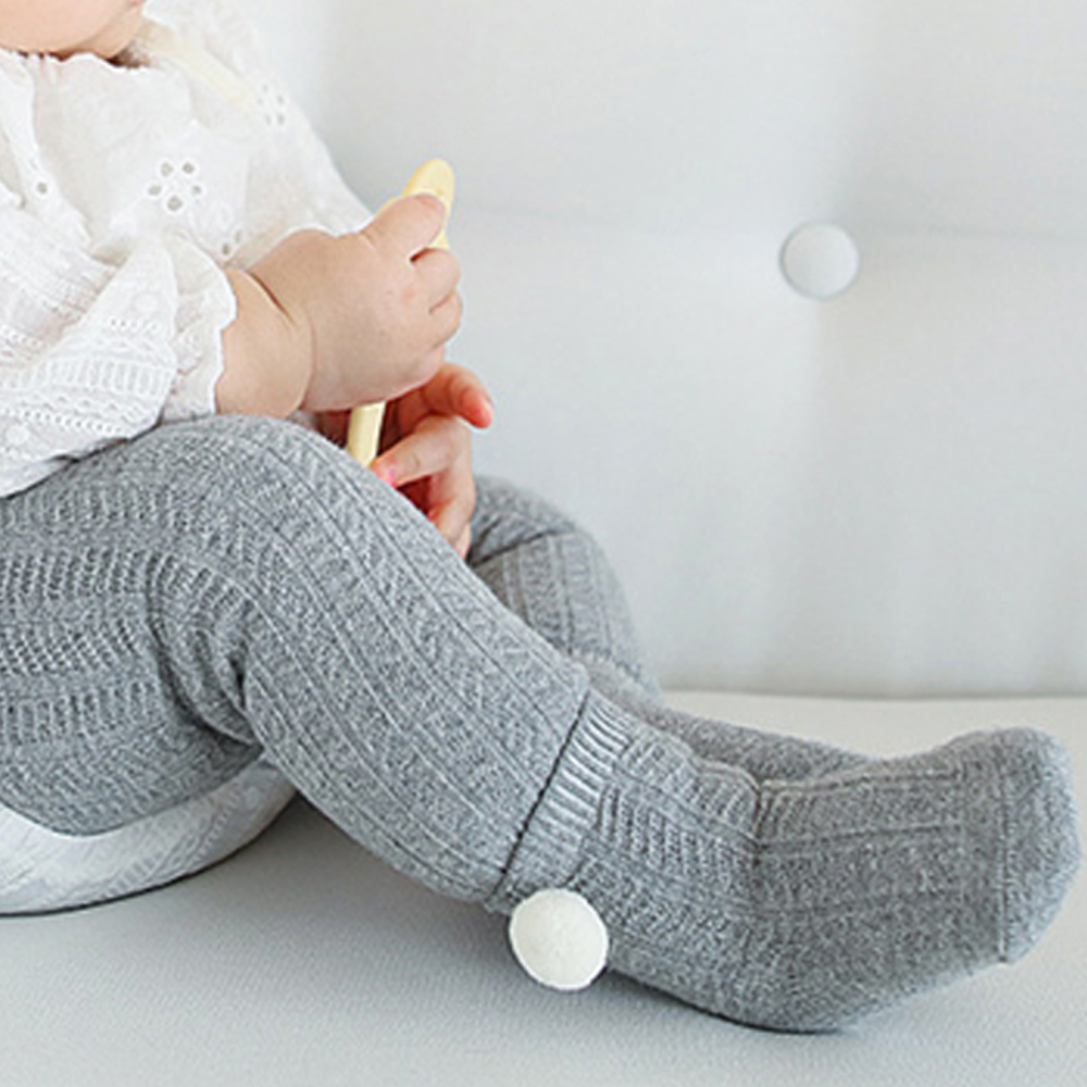 Cotton Baby Socks Anti Slip Knit Fashion Boy Girl Foot Warmer Pompom Ball Socks Non-slip Lace Socks