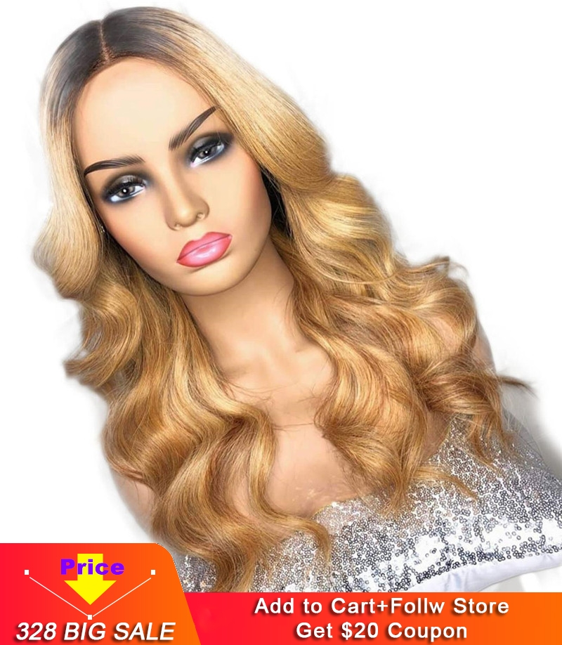 Blonde Ombre Human Hair 13x4 Lace Front Wigs For Black Women Remy 1b/27 Dark Roots 2 Tone Loose Wave Lace Wig Eseewigs