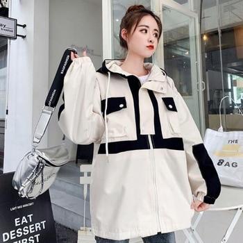 #9124 Plus Size Jackets For Ladies Hooded Pockets Casual Loose Hoodies Jacket Women Long Sleeve Harajuku Coats Girls Streetwear