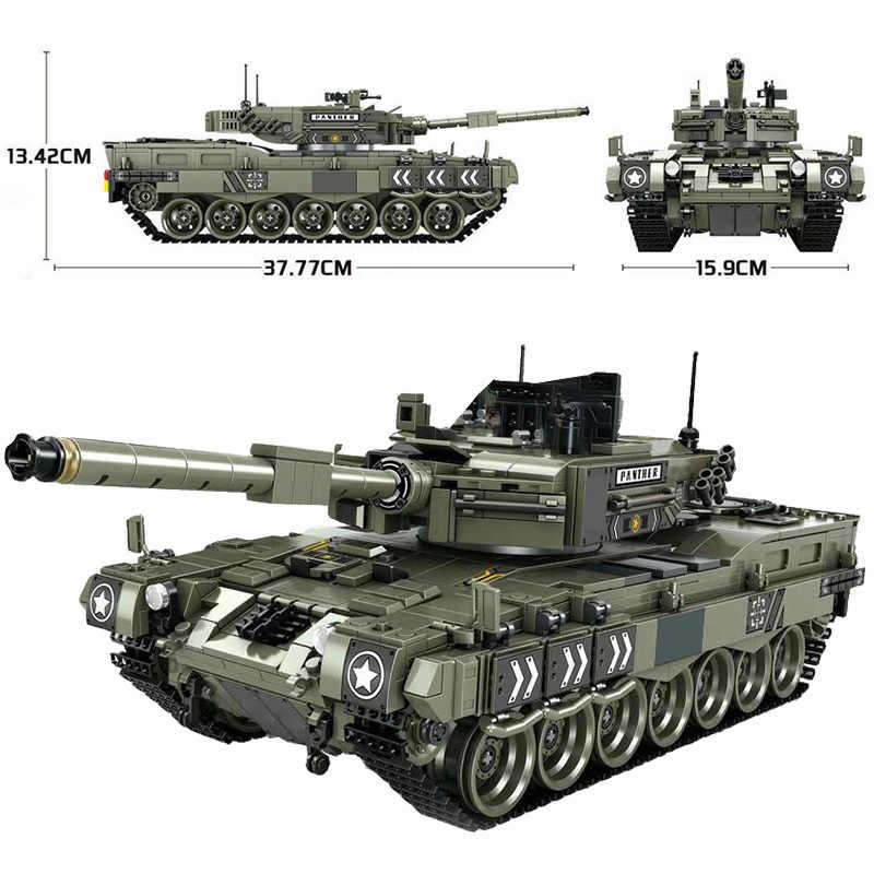 1747 Pcs Leopard 2 รถถังชุดบล็อกอาคารทหารWW2 กองทัพทหารBicksของเล่นเด็ก