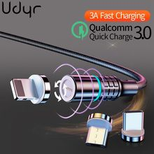 Udyr 3A Magnetic Charger USB Type C Cable for iPhone Cable Charger Fast Charging Micro USB C Cable for xiaomi redmi note 7 pro elough magnetic charging usb cable for iphone charger micro usb cable type c led usb magnetic cable usb c for xiaomi charger
