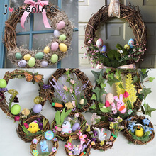 Easter Decoration Wreath 10-30cm Home Decor Natural Rattan Wreath Easter Party Wreath Crafts Egg Decor Spring Wedding Wreath