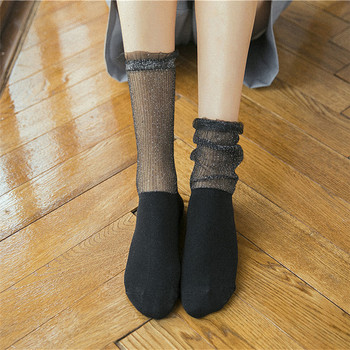 Women Retro Lace Ruffle Midi-Tube Socks Female Crystal Silk Ultrathin Sock Sexy Mesh Frill Trim Transparent Summer Women's Socks frill trim self tie tee