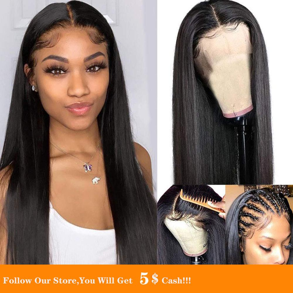 13x4 Black Long Lace Front Synthetic Wig Silky Straight For Black Woman Natural Glueless Wig With Baby Hair Resistant Remy Wig