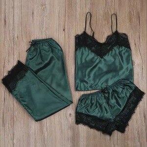 3PC Women Sleepwear Set Sleep Wear Lace Satin Wireless Bra Camisole Shorts Pajamas Sleepwear Robe Пижама Женская