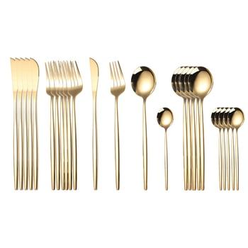 24pcs Cutlery Stainless Steel Tableware Kitchen Cutleri Fork Gold Utensils Dinnerware Set Black Knife Knives Spoon Dinner Travel