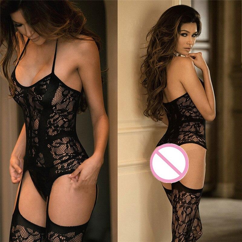 Lace Fetish Bodysuit Sexy Lingerie Women Body Stocking Open Crotch Hot Erotic Medias Body Babydoll Underwear Porno Sexy Costumes